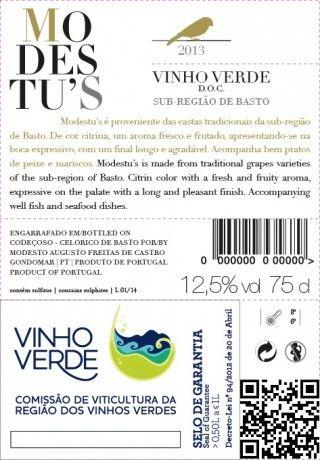 Foto 2 de Modestu's - Vinho Verde Branco (Sub-Região de Basto)